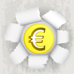 torn paper revelation of golden euro coin vector