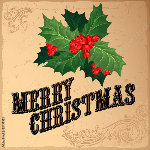 Christmas vintage decoration. Vector.