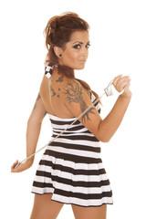 Woman tattoos back handcuffs prison