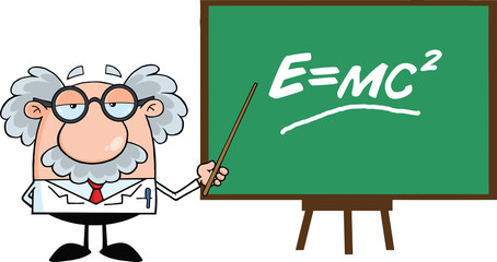 Scientist Or Professor With Pointer Presenting Einstein Formula