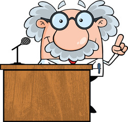 Smiling Scientist Or Professor Present From Podium