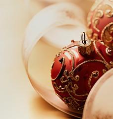 Close up of christmas balls and ribbon