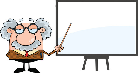 Funny Professor With Pointer Presenting On A Board