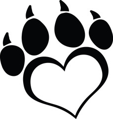 Black Love Paw Print With Claws