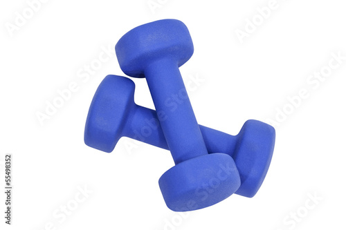 Small Blue Dumbbells Isolated