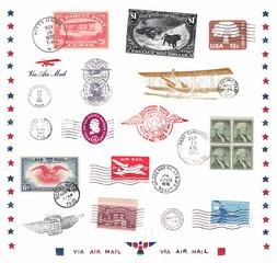 Briefmarken und Poststempel aus den USA