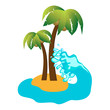 Tropical island and coconut palms, vector icon