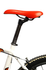 Red bicycle saddle