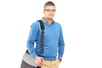 Young man with a shoulder bag