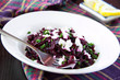 Delicious healthy beetroot salad with feta cheese and parsley