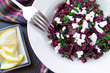Delicious healthy beet salad with feta cheese and parsley