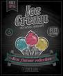 Vintage Ice Cream Poster - Chalkboard. Vector illustration.