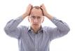Gesicht - frustrierter Mann mit Glatze isoliert