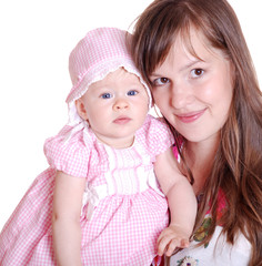 portrait of a happy mother and baby on white