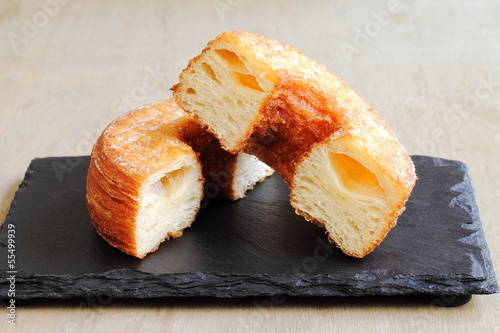 Fashionable puff pastry, half croissant and half doughnut