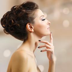 beautiful elegant woman with black nails