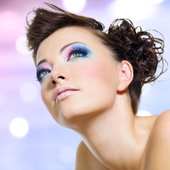 Closeup face with fashion bright pink makeup