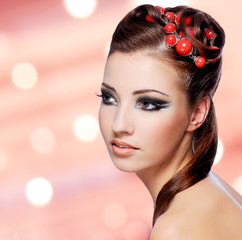 Beautiful woman with creative hairstyle
