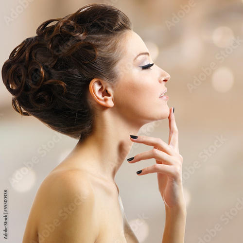 beautiful elegant woman with black nails