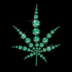 Emerald Marijuana Leaf