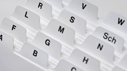 Kartei, Alphabetisches Register, Adresskarten