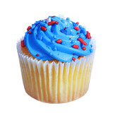 cupcake with blue cream on top. patriotic decorated, isolated