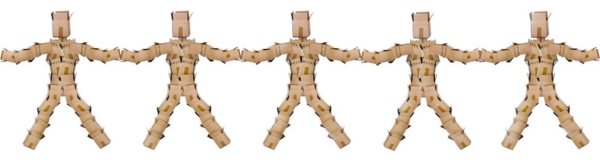 Box men joining hands on a white background