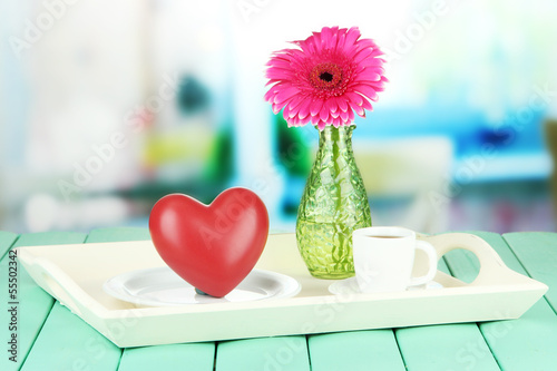 Wooden tray with breakfast,