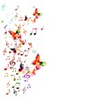 Colorful vector background with butterflies.