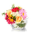 Beautiful bouquet of bright flowers in glass vase, isolated