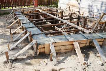 wooden formwork concrete foundation