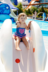 cute toddler in aqua park
