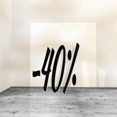 3d graphic of a posh like sign leaning on a wall