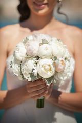 wedding bride bouquet of fresh bridal flowers