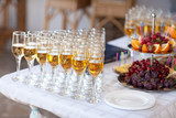 champagne glasses on wedding table, party