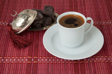Traditional Turkish Coffee with Turkish Delight