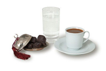 Cup of Coffee with Turkish Sweet
