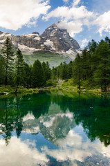 Mount Cervino and Blue Lake, Aosta Valley