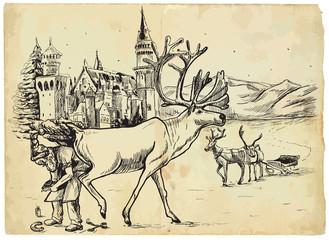 Santa Claus prepares a reindeer before Christmas driving