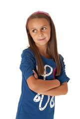 girl in blue looking sideways with her arms folded