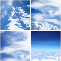 four styles of blue sky with white clound background