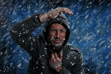 Man Freezing in Cold Weather