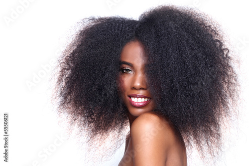 African American Black Woman With Big Hair
