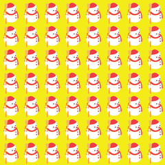 Christmas pattern  snow man on yellow background