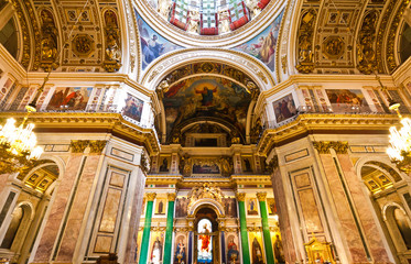Saint Isaac decorated Cathedral, Saint Petersburg, Russia.