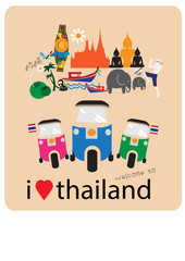 Tuk Tuk car  love - heart with thai icons and symbols