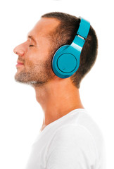 Profile of a man with headphones isolated on white
