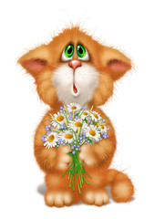 Ginger cat with a bouquet