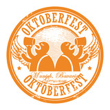 Stamp with beer and the text Oktoberfest written inside, vector