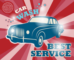 Retro car wash sign, vector illustration